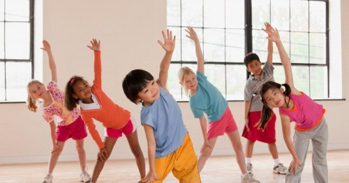 Children exercise fitness class